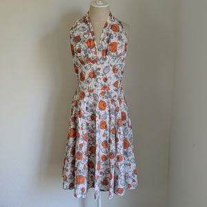 Vintage Rare 1950s halter fit and flair dress.